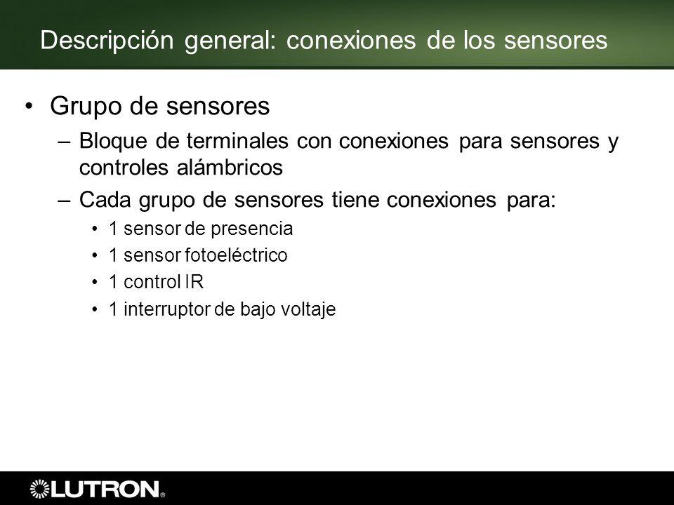Descripción general: conexiones de los sensores