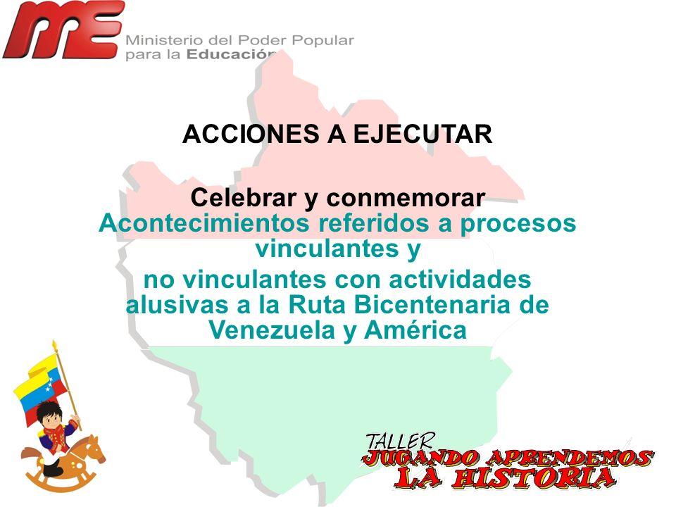 ACCIONES A EJECUTAR Celebrar y conmemorar Acontecimientos referidos a procesos vinculantes y.