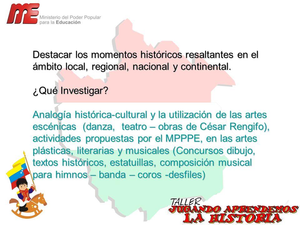 Destacar los momentos históricos resaltantes en el ámbito local, regional, nacional y continental.