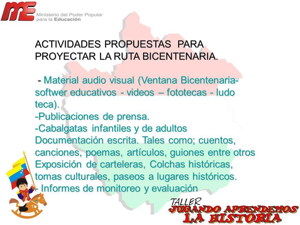 ACTIVIDADES PROPUESTAS PARA PROYECTAR LA RUTA BICENTENARIA.