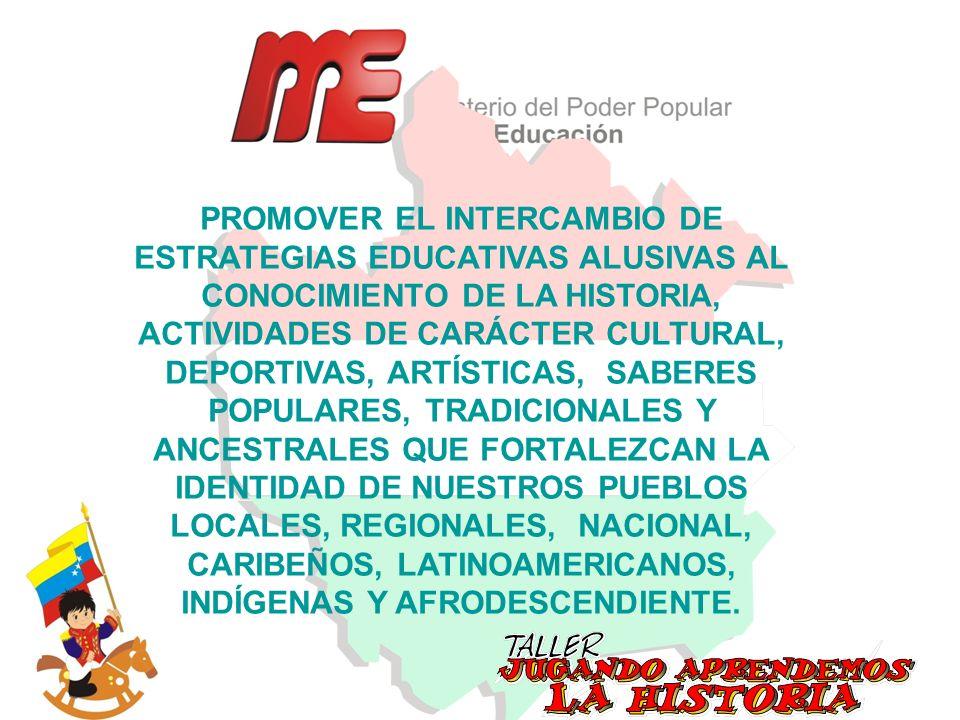 PROMOVER EL INTERCAMBIO DE ESTRATEGIAS EDUCATIVAS ALUSIVAS AL CONOCIMIENTO DE LA HISTORIA, ACTIVIDADES DE CARÁCTER CULTURAL, DEPORTIVAS, ARTÍSTICAS, SABERES POPULARES, TRADICIONALES Y ANCESTRALES QUE FORTALEZCAN LA IDENTIDAD DE NUESTROS PUEBLOS LOCALES, REGIONALES, NACIONAL, CARIBEÑOS, LATINOAMERICANOS, INDÍGENAS Y AFRODESCENDIENTE.