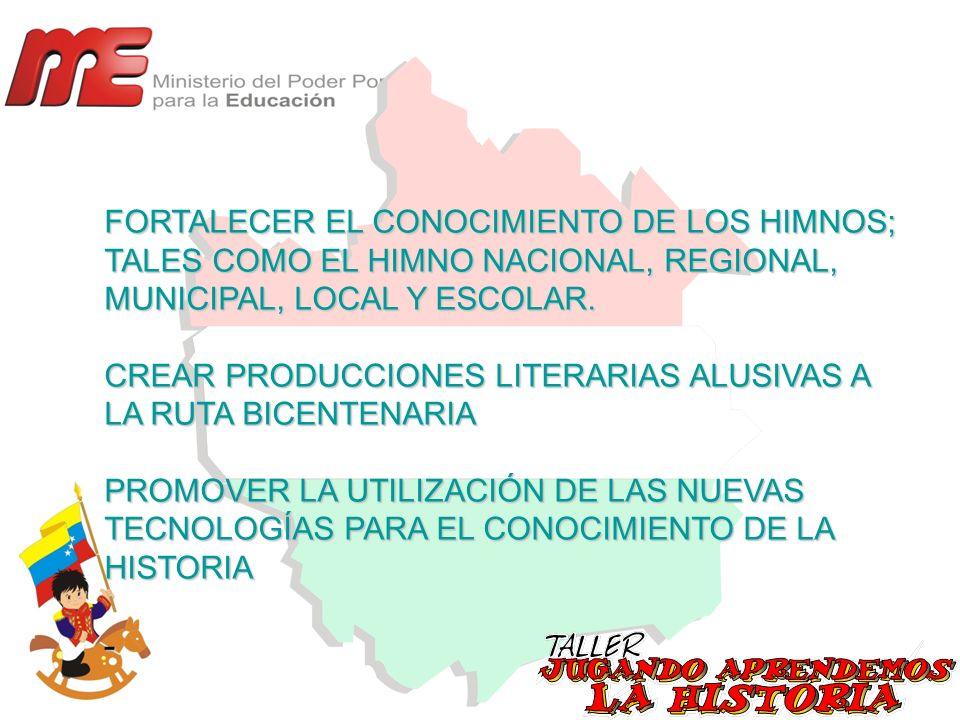 FORTALECER EL CONOCIMIENTO DE LOS HIMNOS; TALES COMO EL HIMNO NACIONAL, REGIONAL, MUNICIPAL, LOCAL Y ESCOLAR.