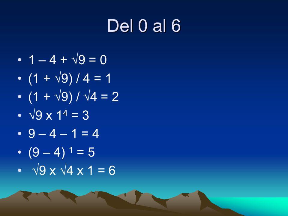 Del 0 al 6 1 – 4 + √9 = 0 (1 + √9) / 4 = 1 (1 + √9) / √4 = 2
