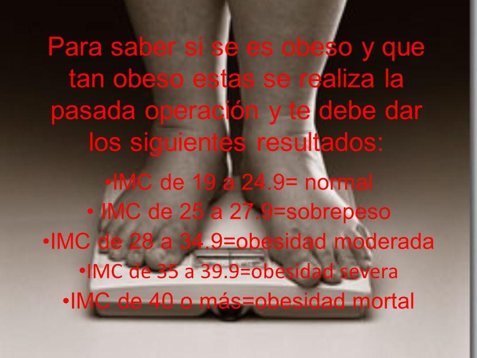Para saber si se es obeso y que tan obeso estas se realiza la pasada operación y te debe dar los siguientes resultados: