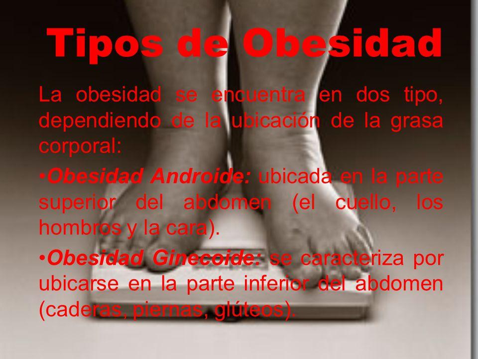 Tipos de Obesidad La obesidad se encuentra en dos tipo, dependiendo de la ubicación de la grasa corporal: