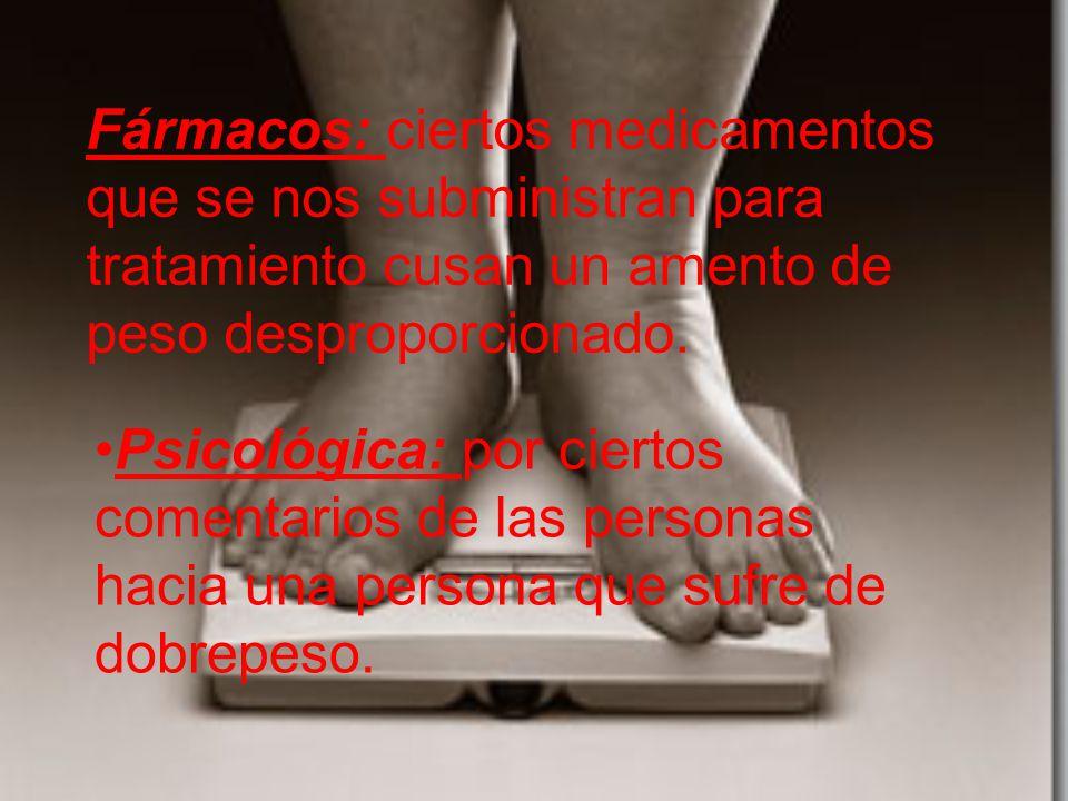 Fármacos: ciertos medicamentos que se nos subministran para tratamiento cusan un amento de peso desproporcionado.
