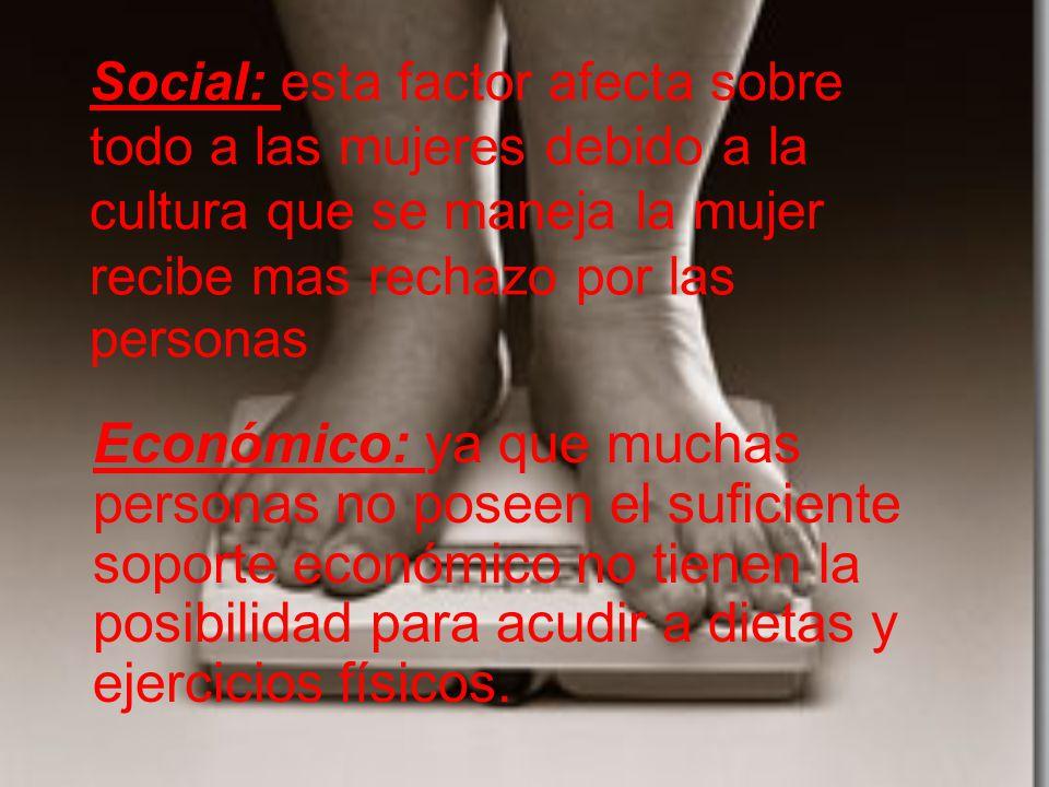 Social: esta factor afecta sobre todo a las mujeres debido a la cultura que se maneja la mujer recibe mas rechazo por las personas