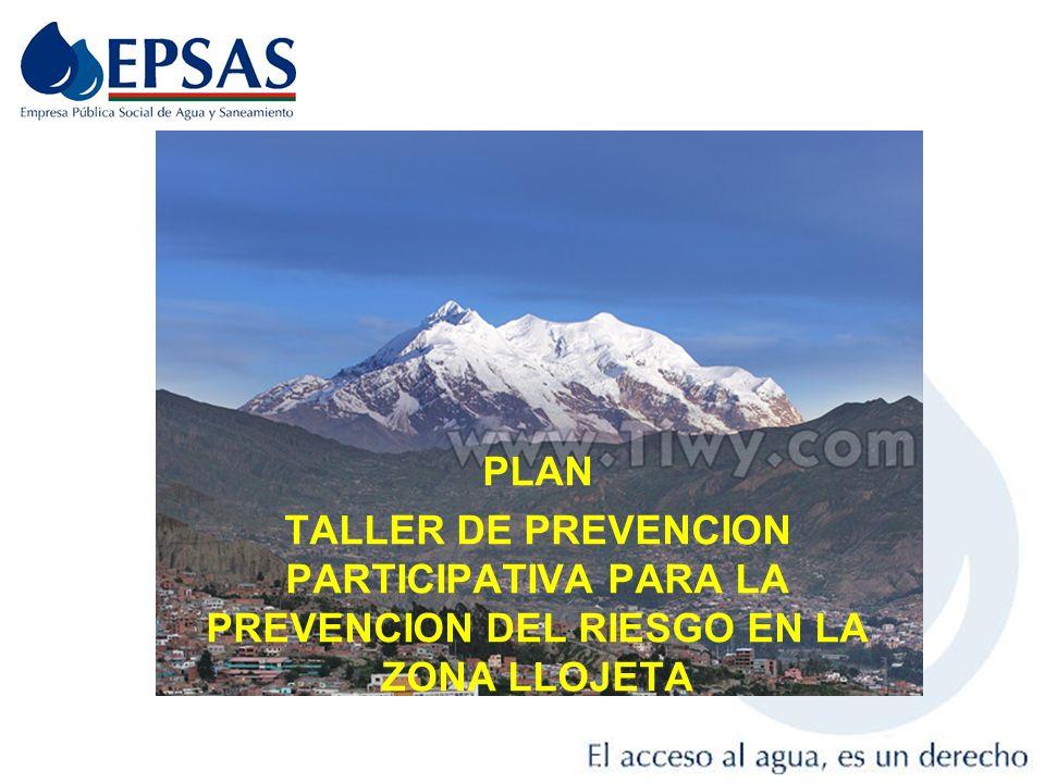 PLAN TALLER DE PREVENCION PARTICIPATIVA PARA LA PREVENCION DEL RIESGO EN LA ZONA LLOJETA 1
