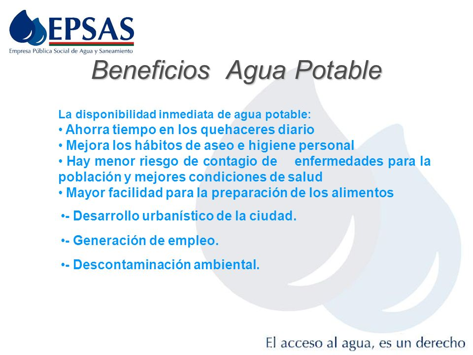 Beneficios Agua Potable