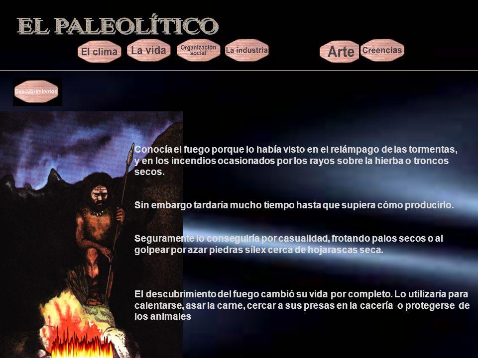EL PALEOLÍTICO Conocía el fuego porque lo había visto en el relámpago de las tormentas,