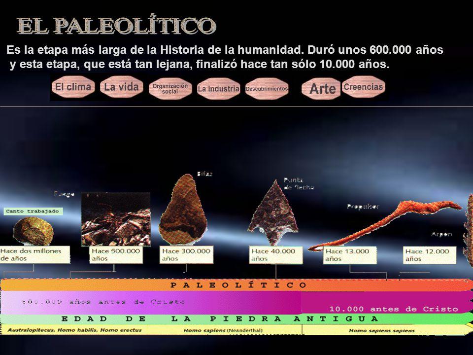 EL PALEOLÍTICO Es la etapa más larga de la Historia de la humanidad. Duró unos 600.000 años.