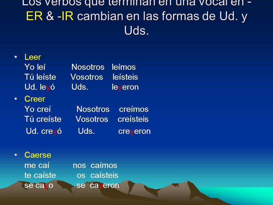 Los verbos que terminan en una vocal en -ER & -IR cambian en las formas de Ud. y Uds.