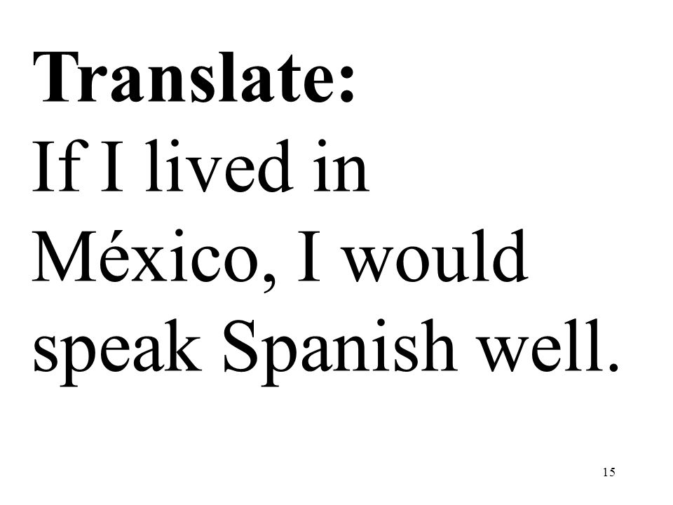 Translate: If I lived in México, I would speak Spanish well.