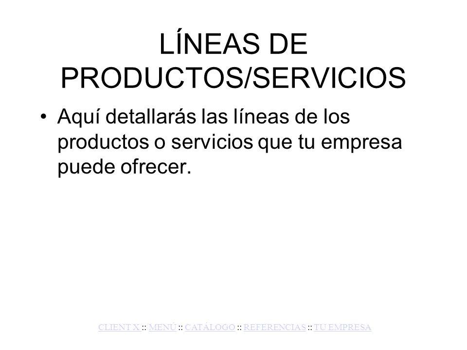 LÍNEAS DE PRODUCTOS/SERVICIOS
