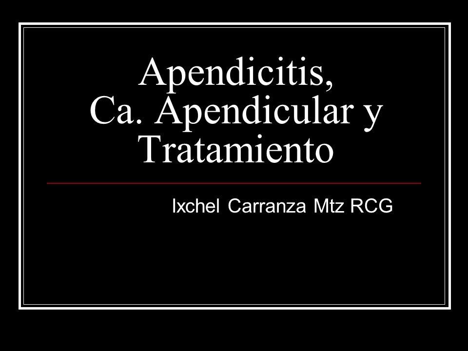 Apendicitis, Ca. Apendicular y Tratamiento