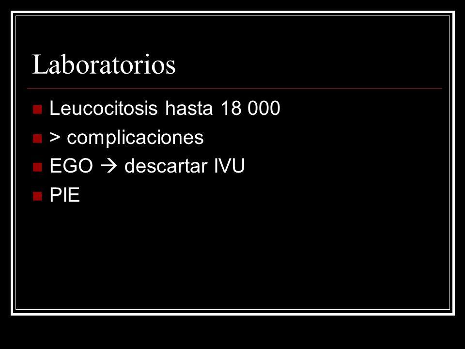 Laboratorios Leucocitosis hasta 18 000 > complicaciones