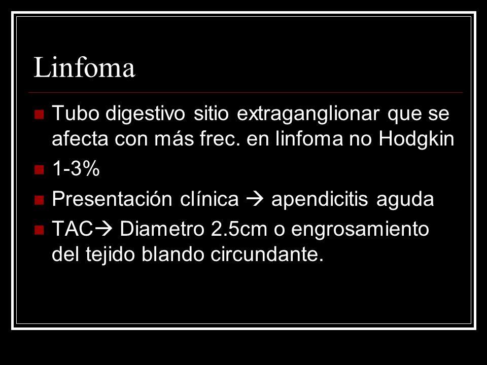 LinfomaTubo digestivo sitio extraganglionar que se afecta con más frec. en linfoma no Hodgkin. 1-3%
