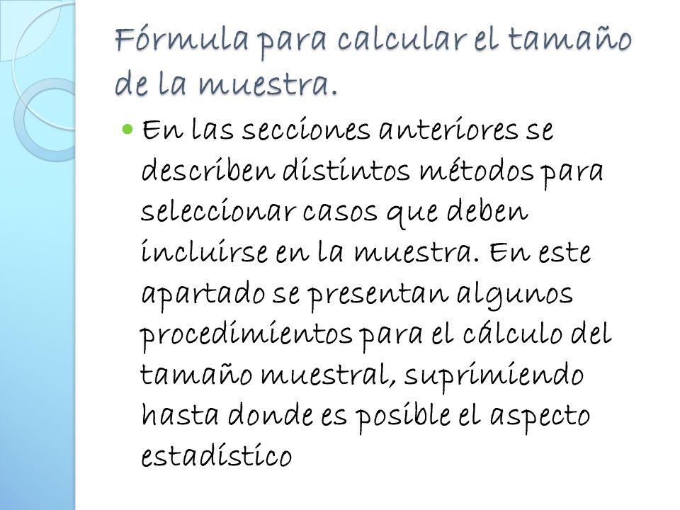 Fórmula para calcular el tamaño de la muestra.