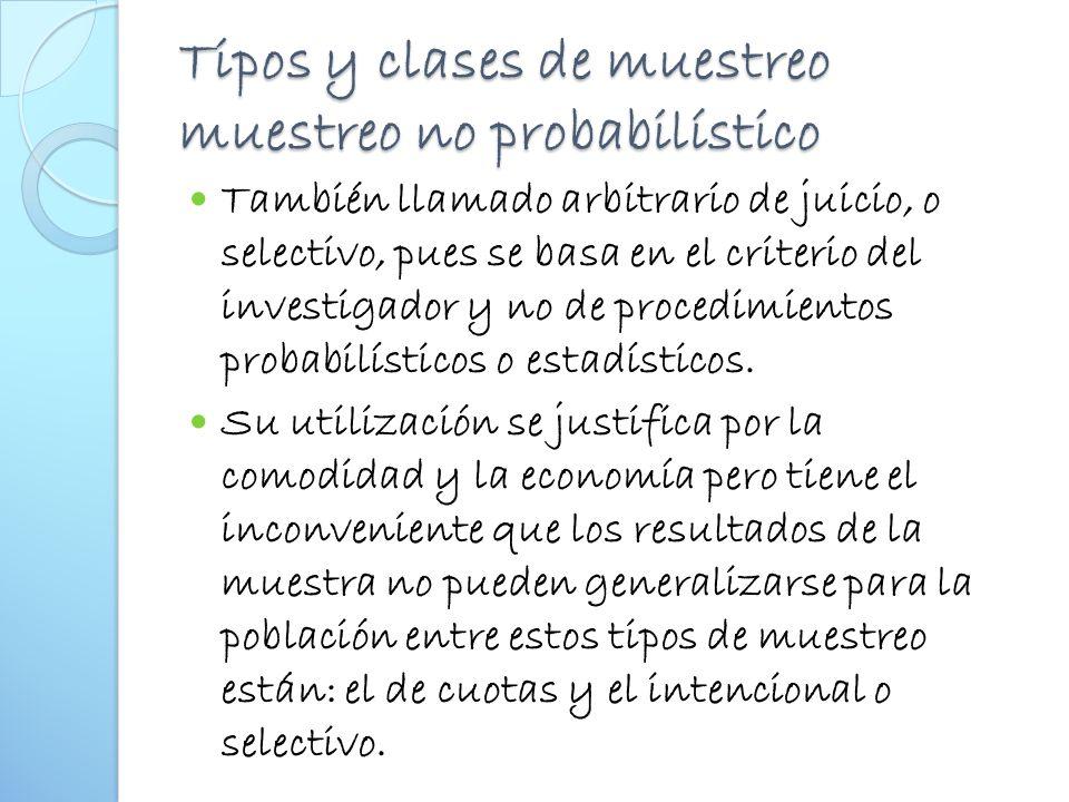 Tipos y clases de muestreo muestreo no probabilístico
