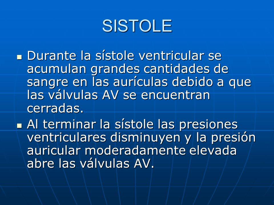 SISTOLEDurante la sístole ventricular se acumulan grandes cantidades de sangre en las aurículas debido a que las válvulas AV se encuentran cerradas.