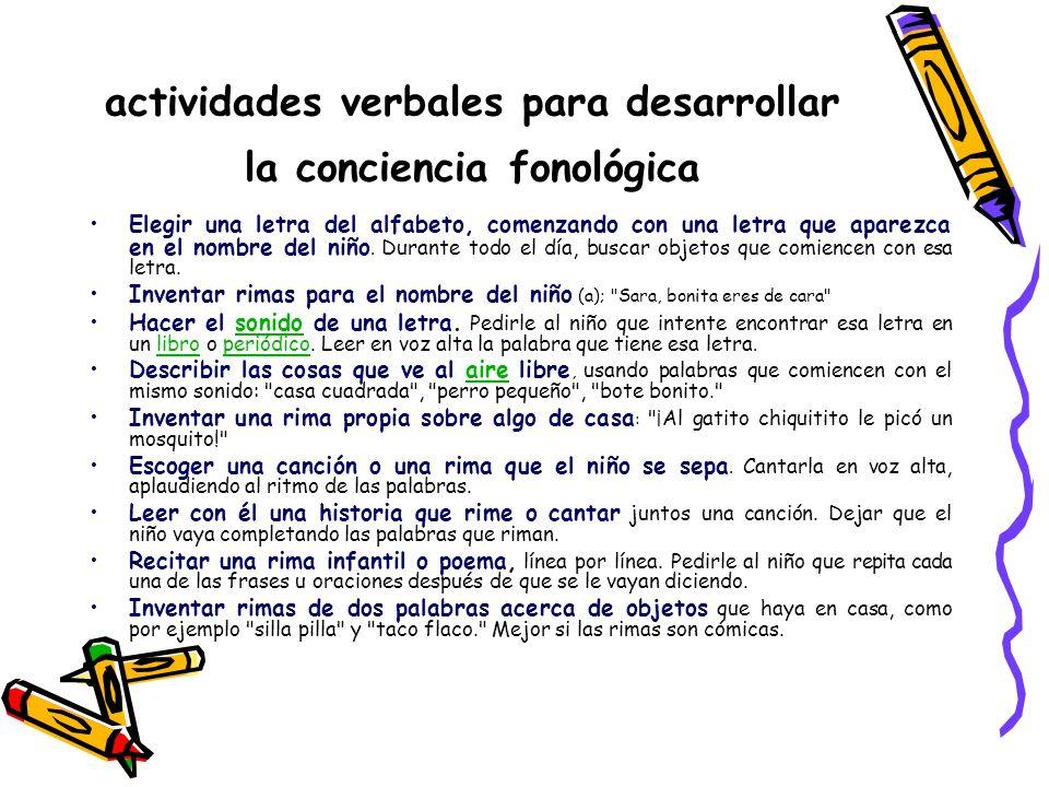 actividades verbales para desarrollar la conciencia fonológica