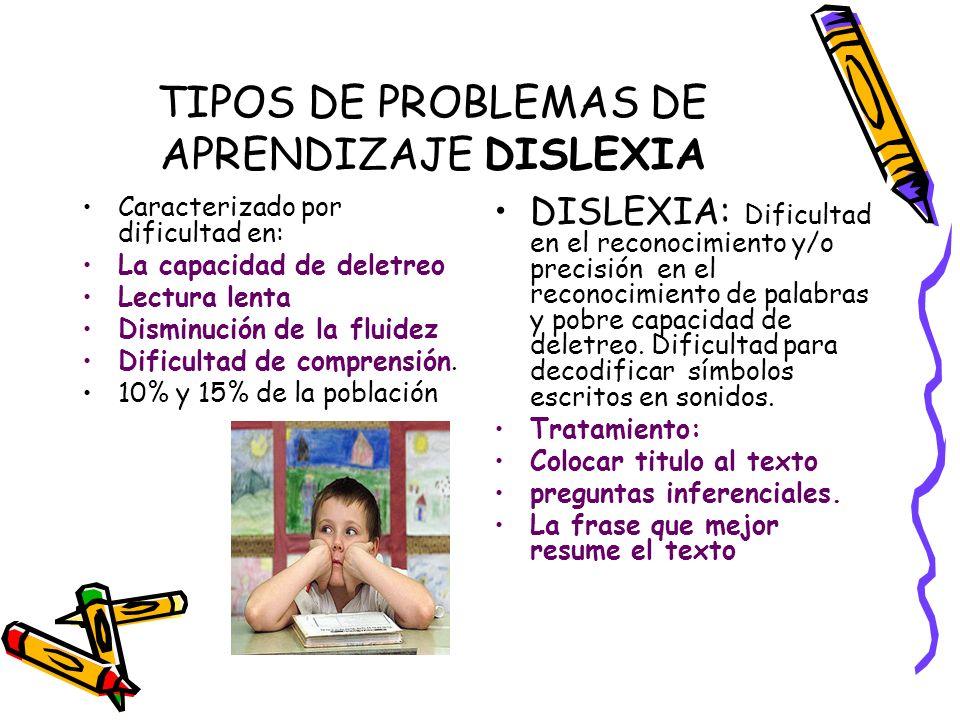TIPOS DE PROBLEMAS DE APRENDIZAJE DISLEXIA