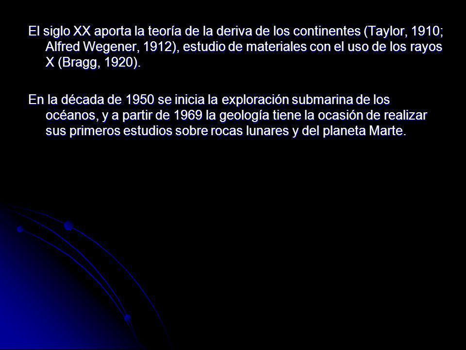 El siglo XX aporta la teoría de la deriva de los continentes (Taylor, 1910; Alfred Wegener, 1912), estudio de materiales con el uso de los rayos X (Bragg, 1920).