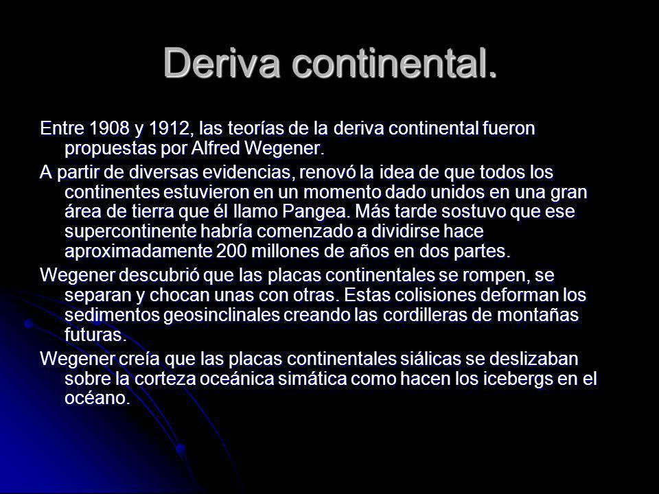Deriva continental. Entre 1908 y 1912, las teorías de la deriva continental fueron propuestas por Alfred Wegener.