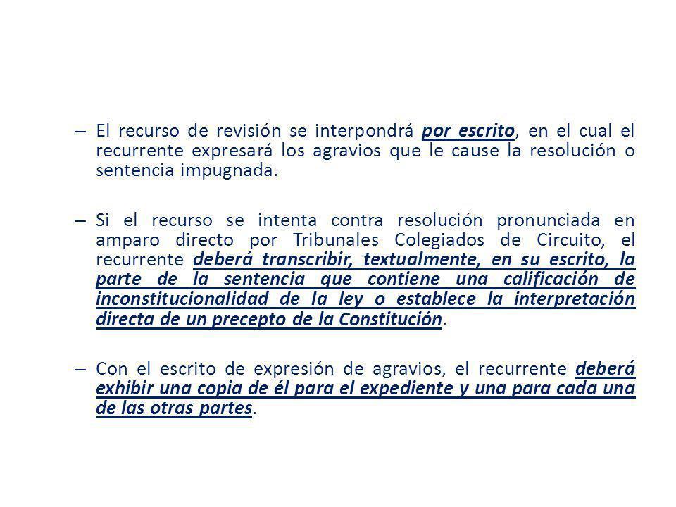 El recurso de revisión se interpondrá por escrito, en el cual el recurrente expresará los agravios que le cause la resolución o sentencia impugnada.