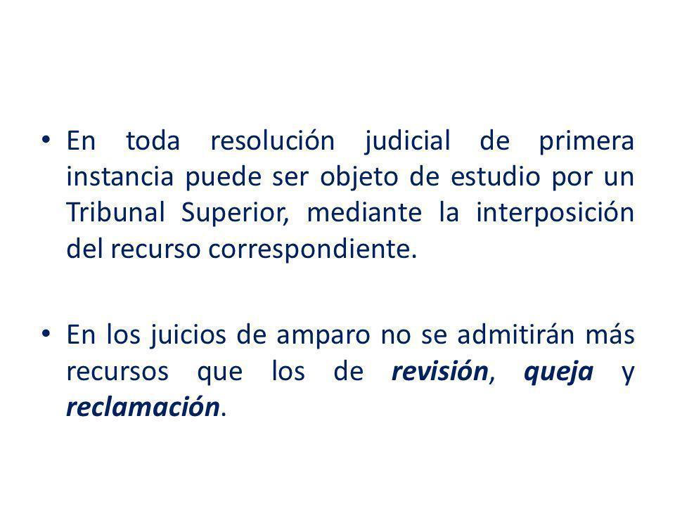 En toda resolución judicial de primera instancia puede ser objeto de estudio por un Tribunal Superior, mediante la interposición del recurso correspondiente.