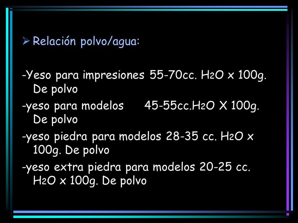 Relación polvo/agua:-Yeso para impresiones 55-70cc. H2O x 100g. De polvo. -yeso para modelos 45-55cc.H2O X 100g. De polvo.