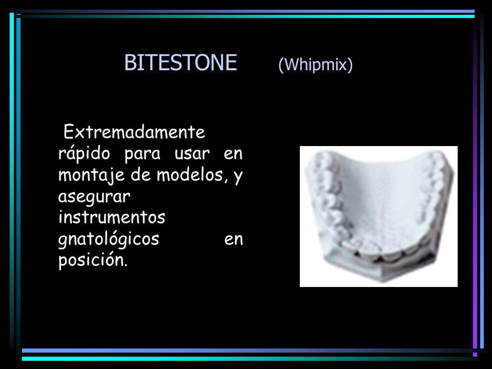 BITESTONE (Whipmix)Extremadamente rápido para usar en montaje de modelos, y asegurar instrumentos gnatológicos en posición.
