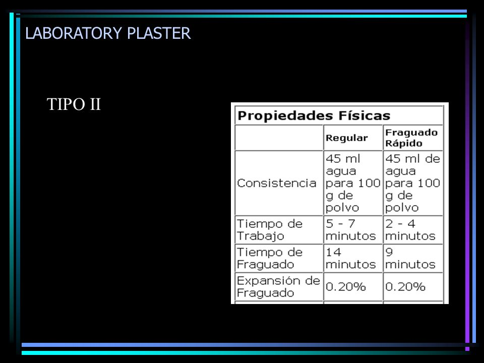 LABORATORY PLASTER TIPO II