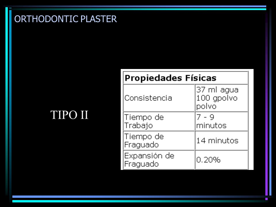 ORTHODONTIC PLASTER TIPO II