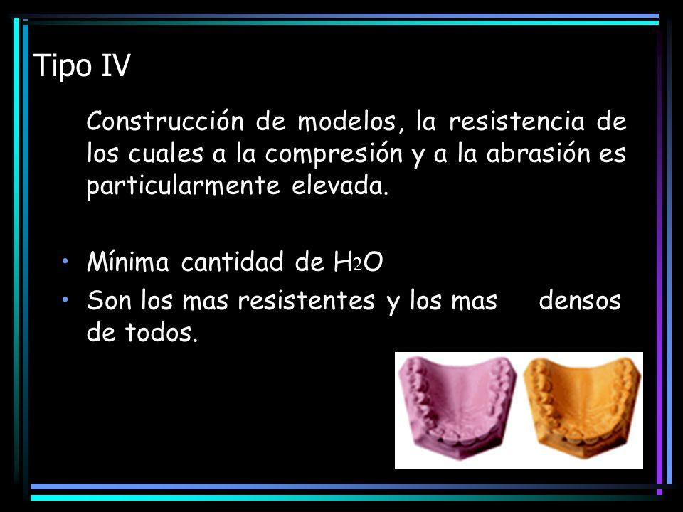 Tipo IV Construcción de modelos, la resistencia de los cuales a la compresión y a la abrasión es particularmente elevada.