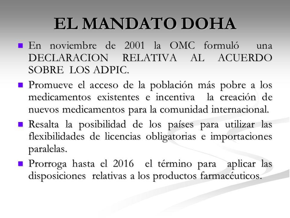 EL MANDATO DOHA En noviembre de 2001 la OMC formuló una DECLARACION RELATIVA AL ACUERDO SOBRE LOS ADPIC.