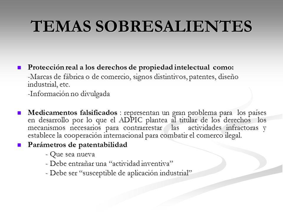 TEMAS SOBRESALIENTES Protección real a los derechos de propiedad intelectual como: