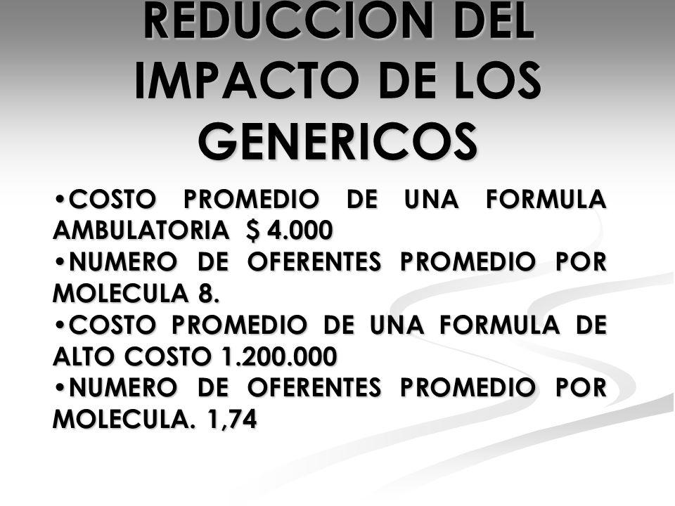 REDUCCION DEL IMPACTO DE LOS GENERICOS