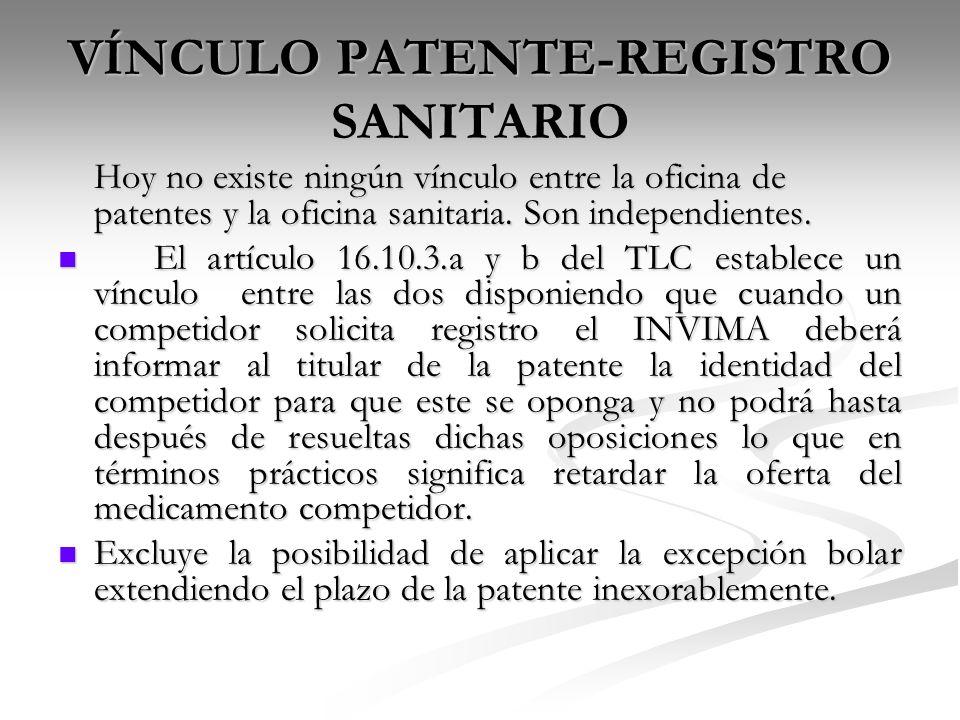 VÍNCULO PATENTE-REGISTRO SANITARIO