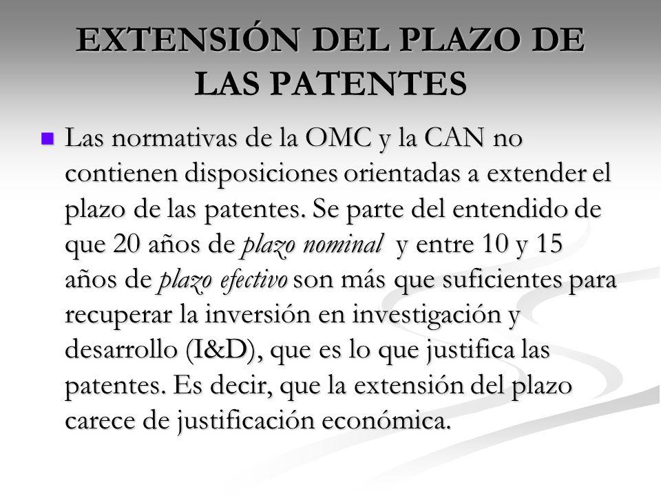 EXTENSIÓN DEL PLAZO DE LAS PATENTES