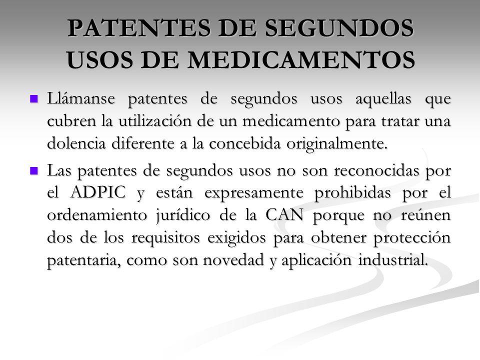 PATENTES DE SEGUNDOS USOS DE MEDICAMENTOS
