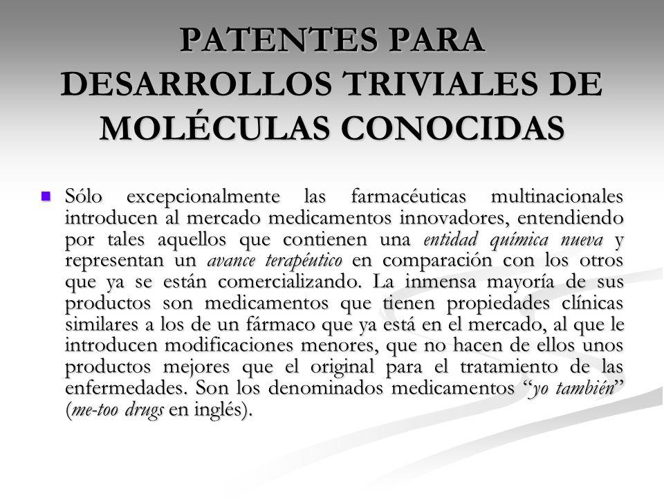 PATENTES PARA DESARROLLOS TRIVIALES DE MOLÉCULAS CONOCIDAS