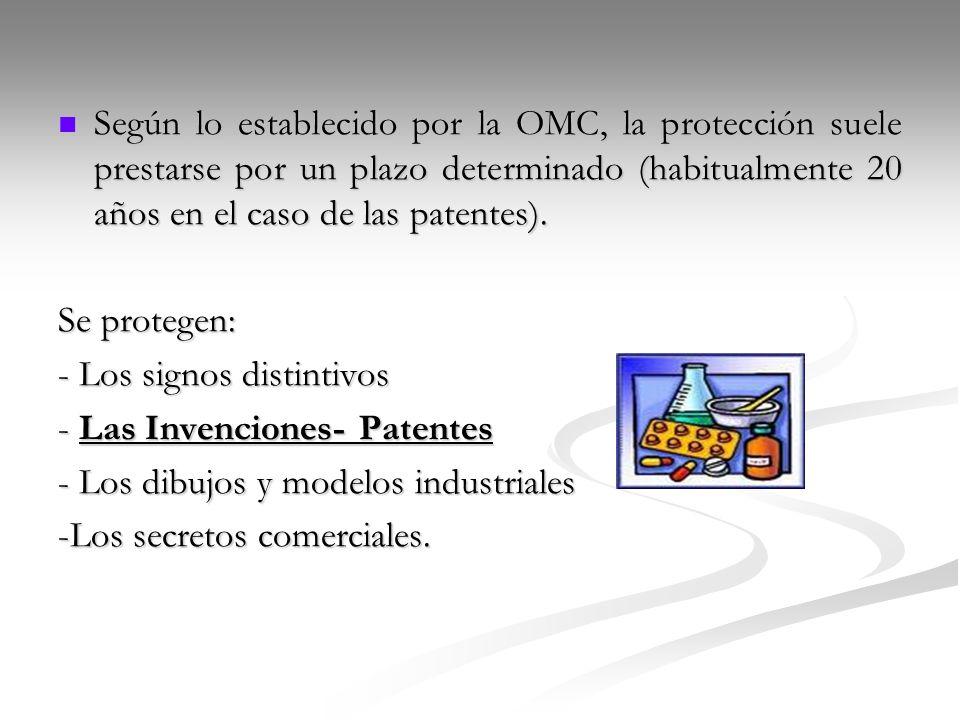 Según lo establecido por la OMC, la protección suele prestarse por un plazo determinado (habitualmente 20 años en el caso de las patentes).
