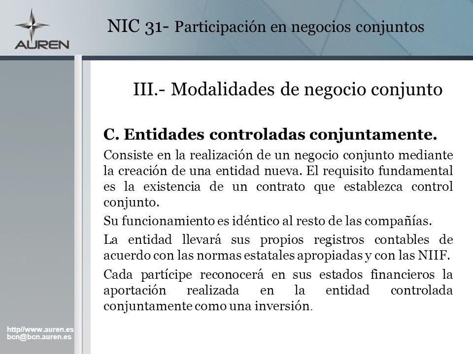 III.- Modalidades de negocio conjunto
