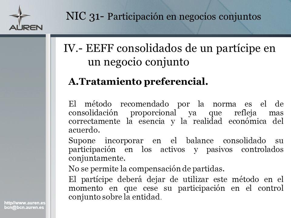 IV.- EEFF consolidados de un partícipe en un negocio conjunto