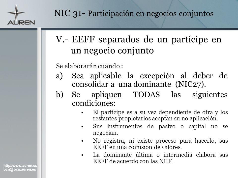 V.- EEFF separados de un partícipe en un negocio conjunto