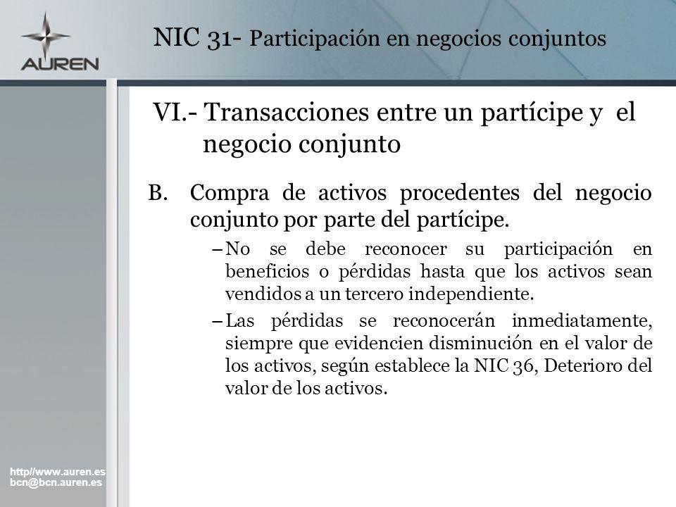 VI.- Transacciones entre un partícipe y el negocio conjunto