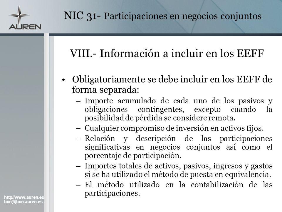 VIII.- Información a incluir en los EEFF