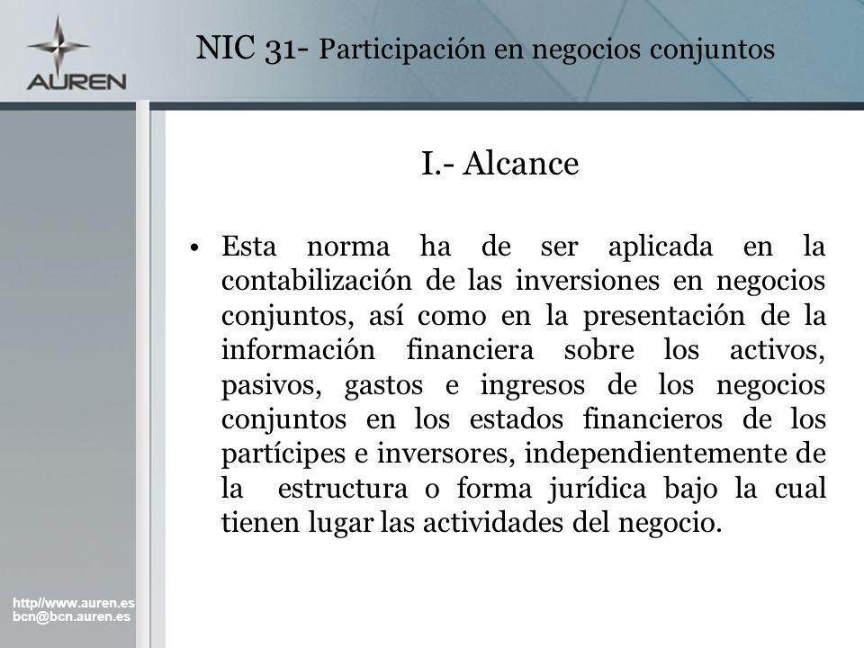 NIC 31- Participación en negocios conjuntos