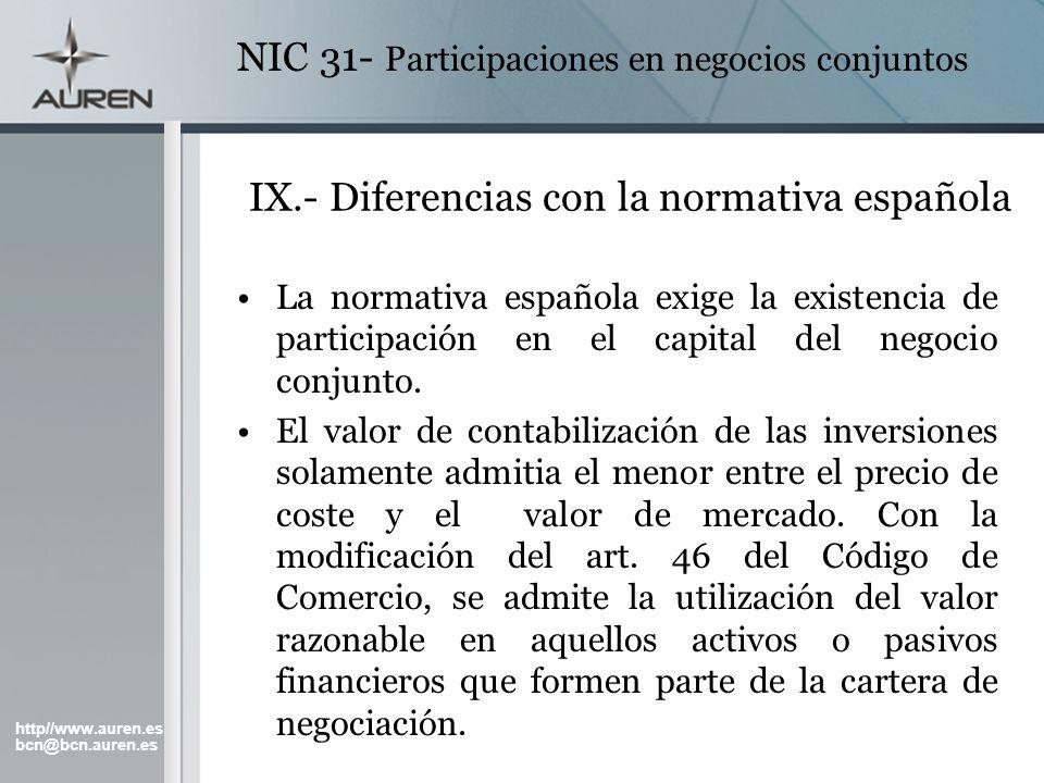 IX.- Diferencias con la normativa española